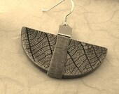 Silver and Copper Half moon Leaf Earrings