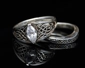 Celitc Heart Knot Wedding Set - Engagement Ring and Wedding Band