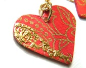 Decoupage Earrings Hearts Red and Gold O la la