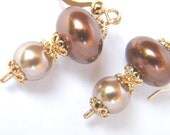 Champagne and Chocolate Pearls Dangle Earrings