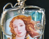 Birth of Venus Sterling Wire Wrap Glass Necklace