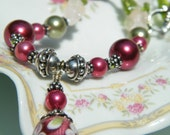 Rose Garden  Necklace Christmas Season with shades of green and bright crimson
