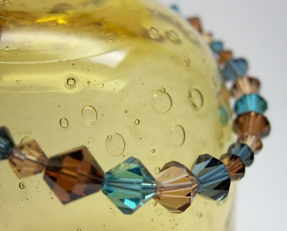 Brown and Blue Swarovski Crystal Bracelet (049)