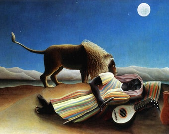 The Sleeping Gypsy by Henri Rousseau mono deluxe Needlepoint Canvas