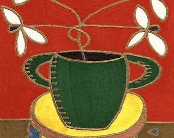 White Flowers Green Vase by David Venne mono deluxe Needlepoint Canvas
