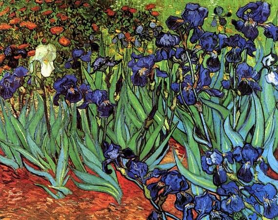 Irises by Van Gogh mono deluxe Needlepoint Canvas