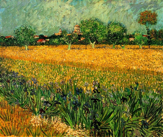 View of Arles with Irises Van Gogh Landscape on mono deluxe Needlepoint Canvas