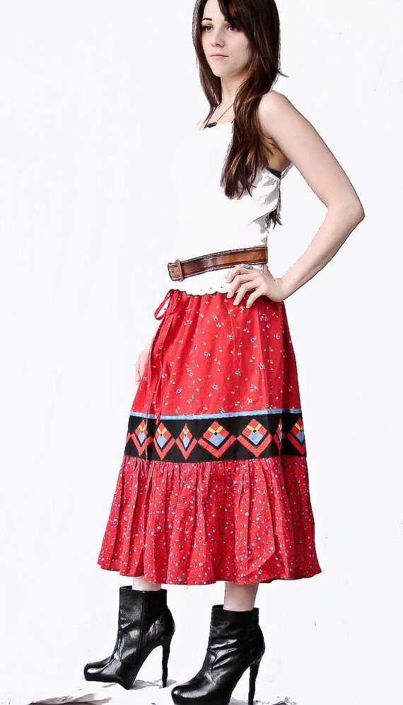 SALE - was 39.00 - Vintage Boho Southwest Red Skirt M-L Free People Style