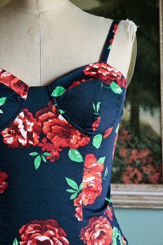 Rose Garden Vintage Top Bustier Corset Style M - L