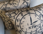 TIME on Burlap TWO 18x18 pillow covers