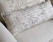 FRENCH SCRIPT  bolster/lumbar/accent/throw pillow 10x25