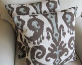 Ikat  Pair of Pillow Covers 18x18 inches in Marrakesh Coblestone fabric WITH INSERTS