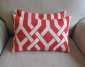 Coral/Red on White Lumbar pillows 11x16 OUTDOOR Fabric PAIR
