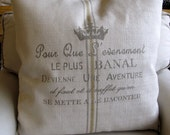 FRENCH Country CREST pillow cover 20x20 22x22 24x24 26x26 grainsack style