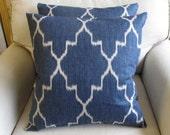 PAIR Pillow Covers Monaco Sapphire Blue Ikat 18x18 20x20 22x22 24x 24 26x26 12X20 13X26