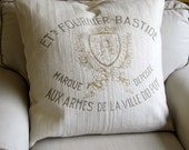 FRENCH country CREST  Pillow Cover grain sack style 20x20 22x22 24x24 26x26