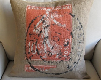 French Republic Vintage Stamp 20x20 pillow cover