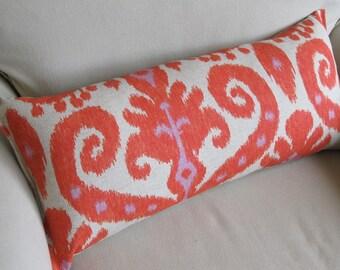 IKAT tangerine/orange and lavendar pillow 12x25