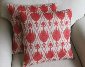 PAIR Ikat Coral Pillows 18x18 20x20 22x22 inserts included