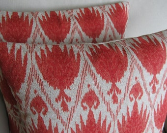 Ikat Coral PAIR of Pillows with inserts 20x20