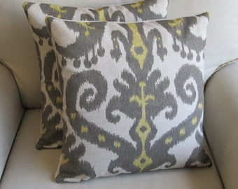 Ikat PAIR 20x20 pillows Marrakesh Graphite fabric WITH INSERTS