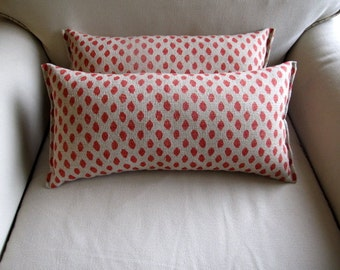 Sahara Coral Ikat accent/lumbar pillows pair 10x20