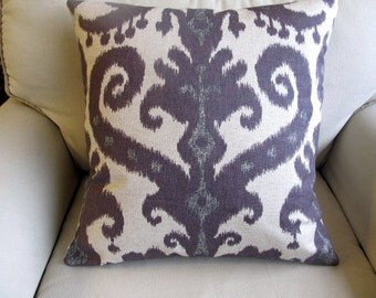 Ikat  in Aubergine 20x20 Pillow includes insert