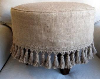 BURLAP Slipcovered Stool/ottoman/tuffet/bench/seating furniture