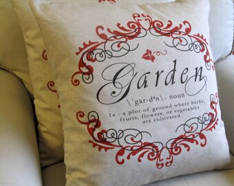 GARDEN CHIC Pillow Cover 22x22  in Red