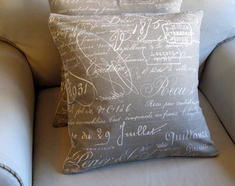 French Script KHAKI designer decorative Pillow 18x18 20x20 insert included