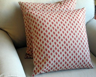 Coral Ikat pillows pair 20X20 WITH INSERTS