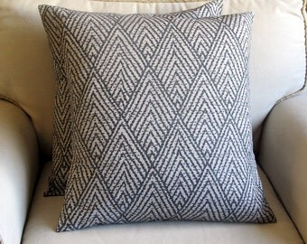 Ikat Dark Blue gray pillow covers 26x26 same fabric front and back--PAIR