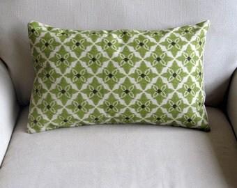 Lumbar CELERY GREEN decorative designer pillow 12x20 insert included