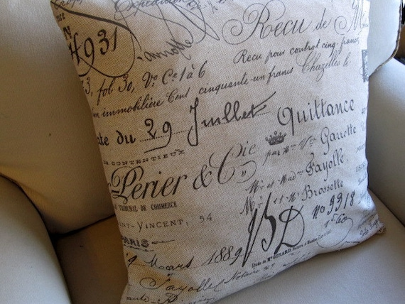 French Document Script Pillow Cover 20x20 WITH INSERT