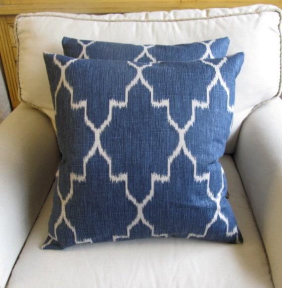 MONACO SAPPHIRE Blue ikat decorative designer pillows with inserts 20x20