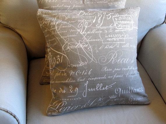 French Script KHAKI designer decorative Pillow Cover 18x18 20x20 22x22 24x24 26x26