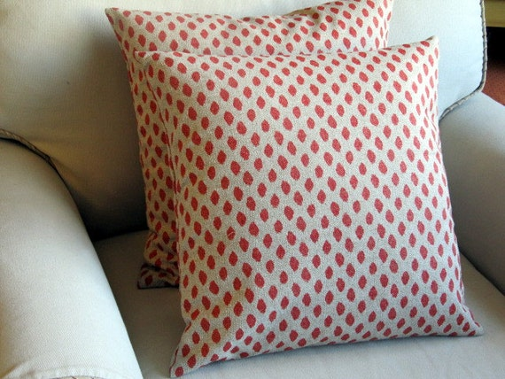 Coral Ikat pillows pair 18x18 20x20 22x22 WITH INSERTS