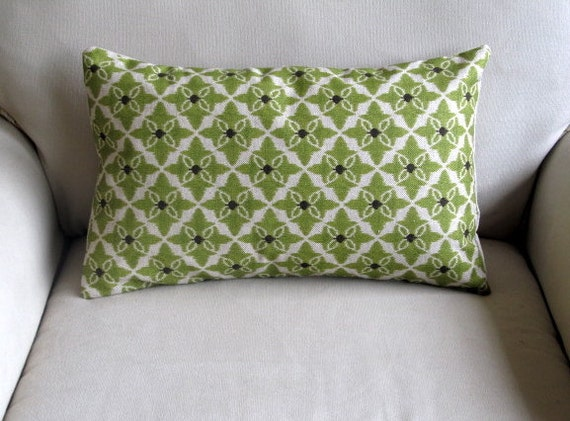 Items similar to Lumbar CELERY GREEN decorative designer pillow 12x20 insert included on Etsy