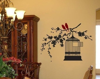 Cherry Blossom Branch with Birds and Birdcage Vinyl Wall Decal