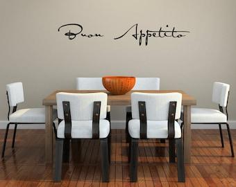 Buon Appetito script Vinyl Wall Decal (small) SALE item in White
