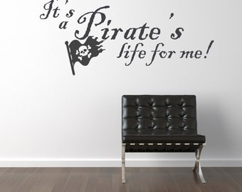 Pirate's Life Jolly Roger - Vinyl Wall Decals Stickers Art Graphics Words Lettering vinyl wall decal (medium)