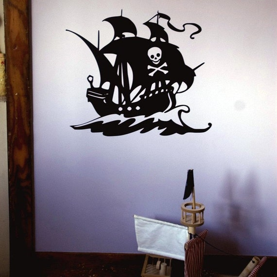items similar to pirate ship vinyl wall decal on etsy. Black Bedroom Furniture Sets. Home Design Ideas