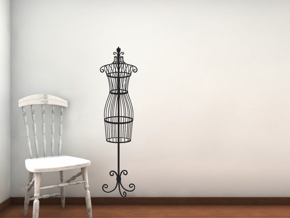 Small Wrought Iron Vintage Dress Form Vinyl Decal In Turquoise