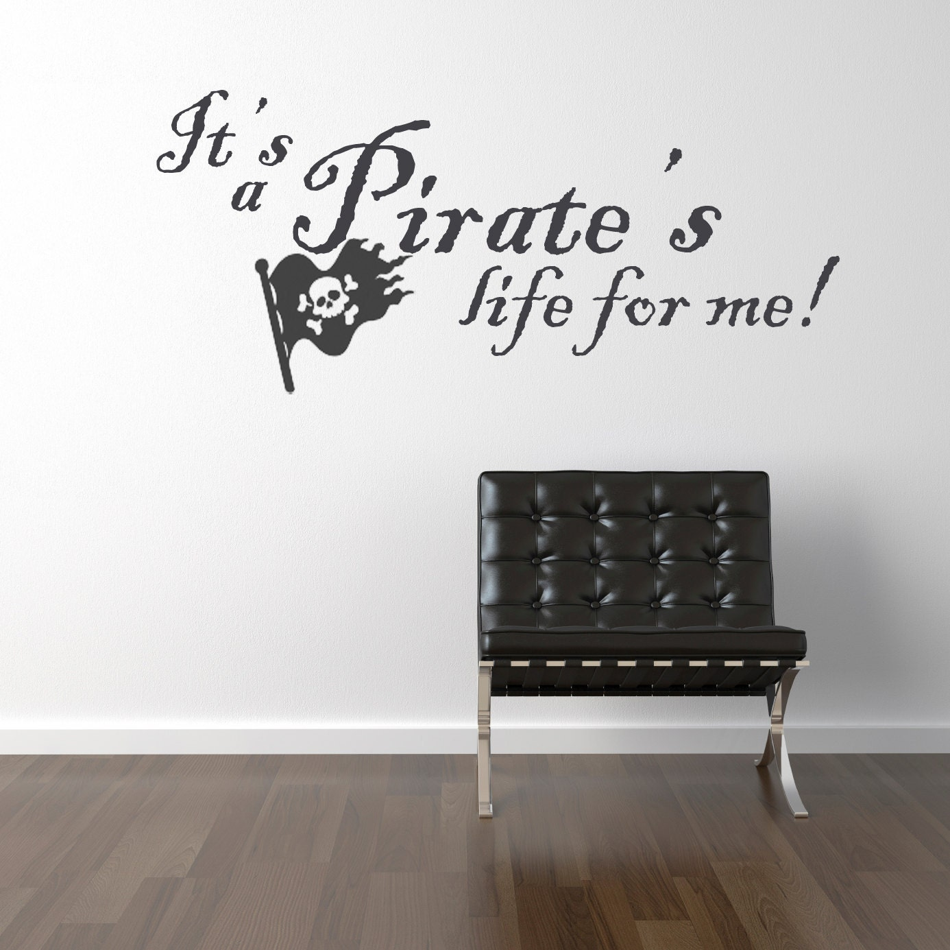 pirate 39 s life jolly roger vinyl wall decals stickers art. Black Bedroom Furniture Sets. Home Design Ideas