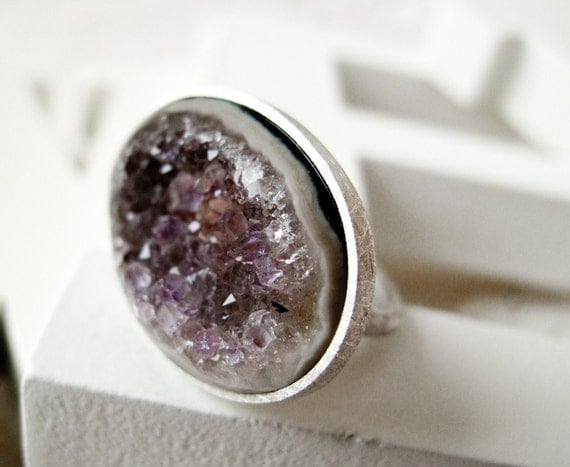 RESERVED Agate drusy - Candy Ring