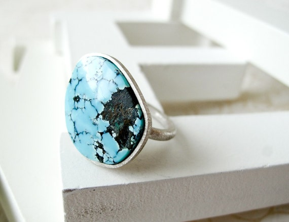 SALE - Spider Web Turquoise Ring