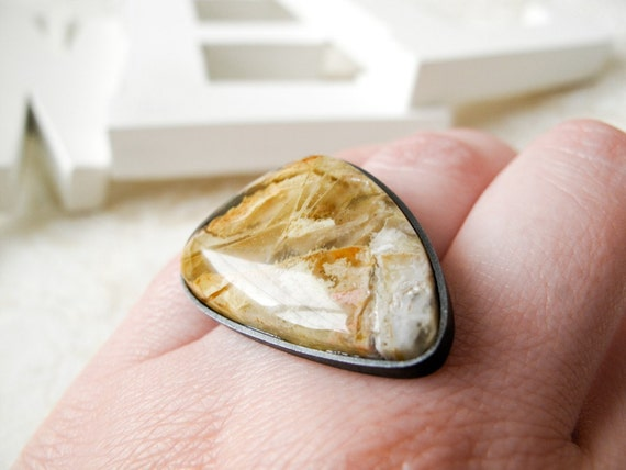SALE Plume agate ring I