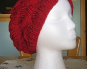 Hand Knit Reds Wool and Microfiber Slouchy Cabled Beret FREE US SHIPPING