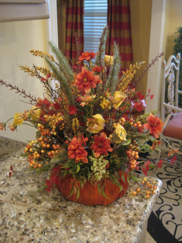 Pumpkin basket arrangement