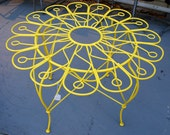 SALE 50 DOLLARS OFF Hollywood Regency Yellow Wrought Iron Table for your Patio or Garden